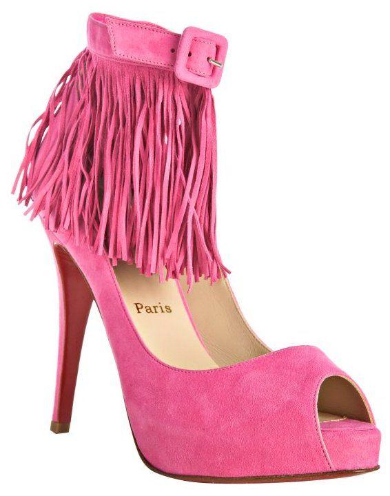 size 40 7566c c886a Christian Louboutin - Hot Pink Suede Short Tina 120 Fringe Pumps