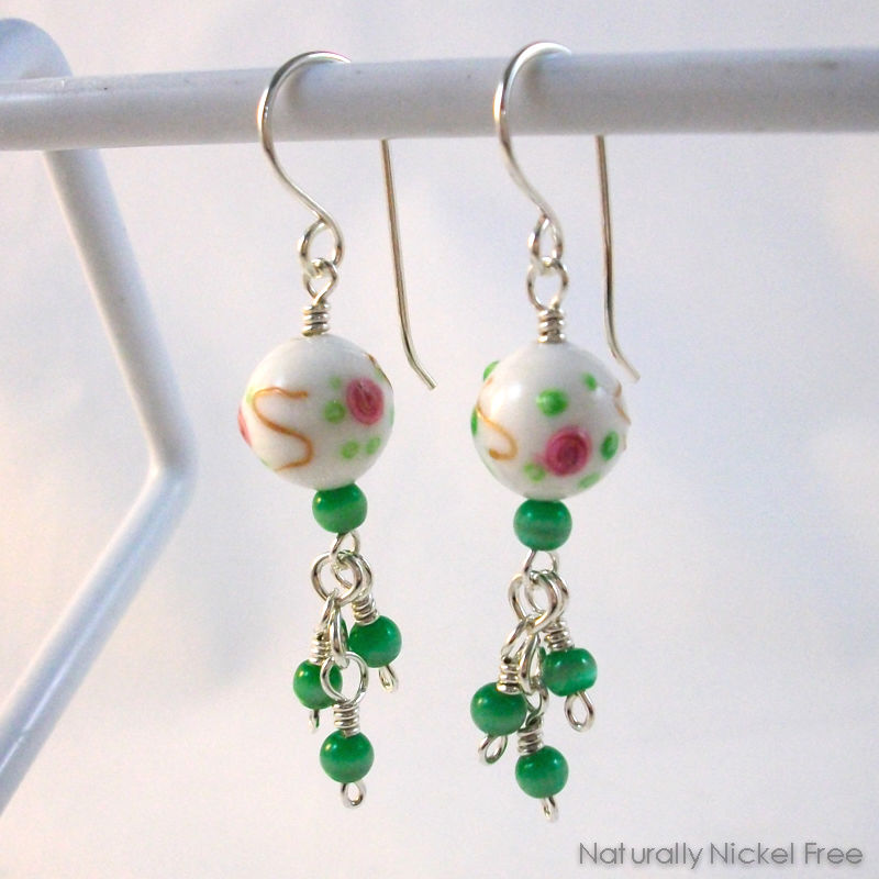 White Glass Bead Earrings Rose Design With Green Bead