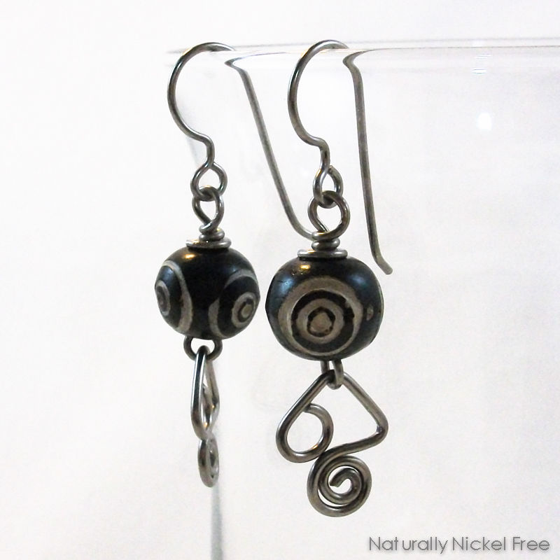Carved Bone Earrings Angular Niobium Wire Dangles Product Images Of