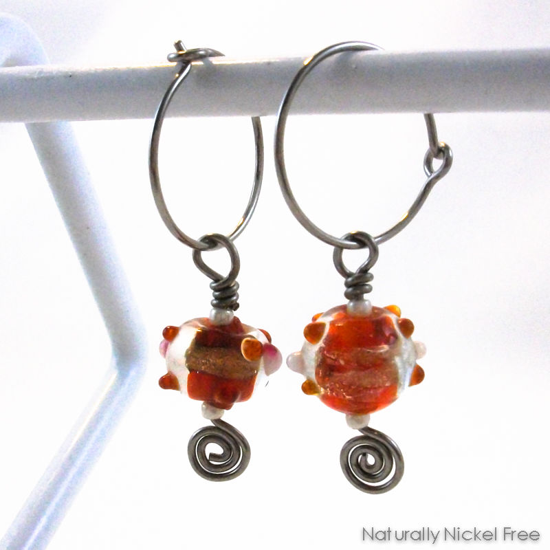393809479 Red and Gold Glass Bead Dangle Hoop Earrings - product images of ...