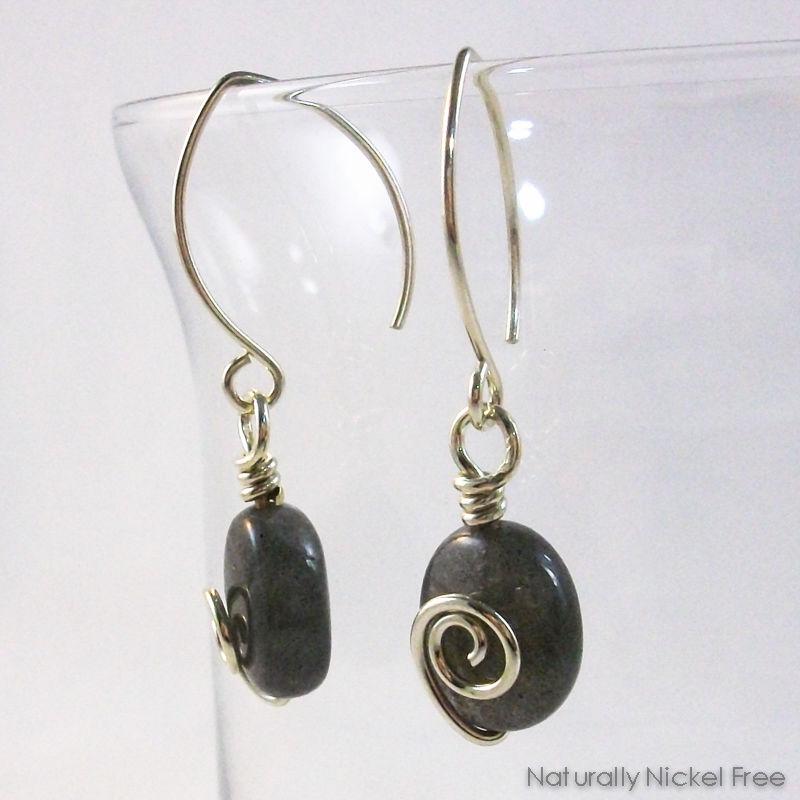 f9e4bbbfa Labradorite Spiral Dangle Earrings - Naturally Nickel Free