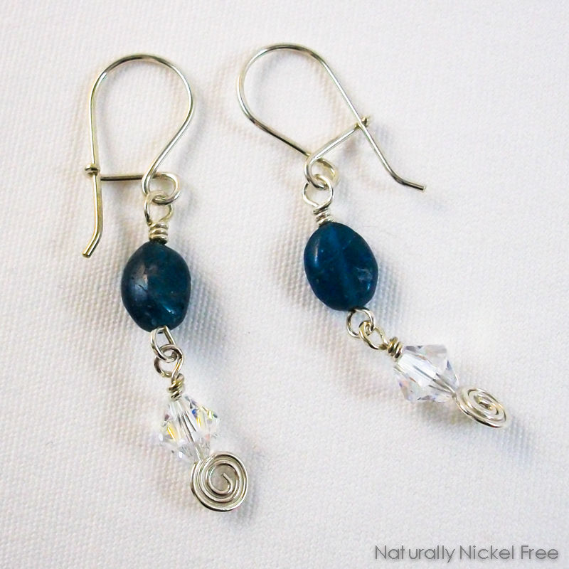 Blue Apae And Crystal Dangle Earrings Product Images Of