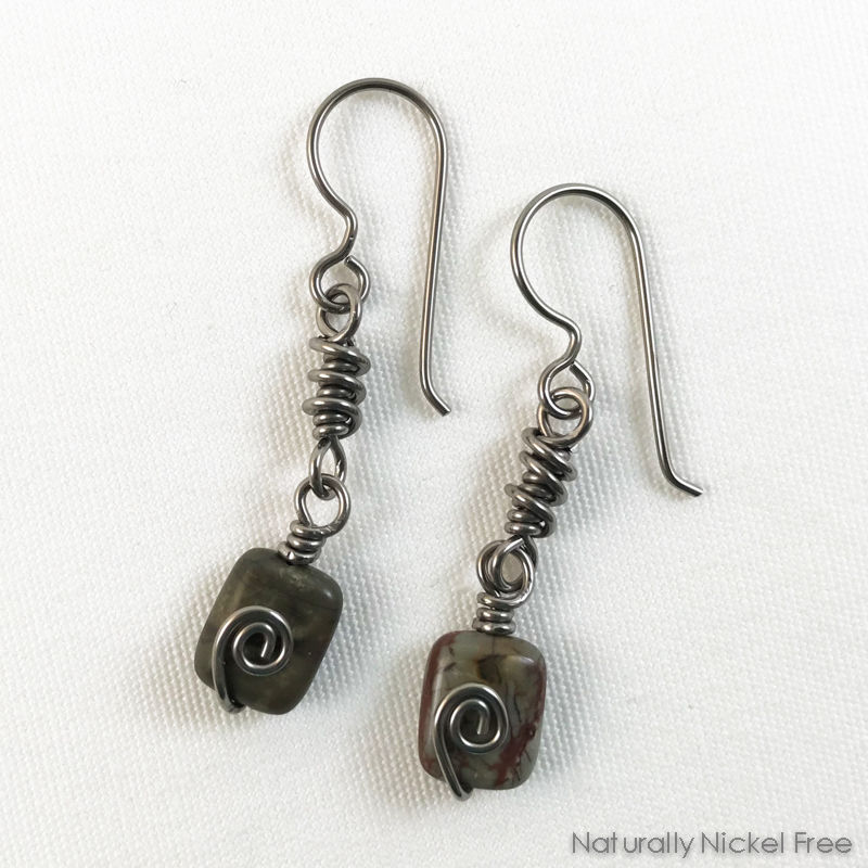 b37300d74cf991 River Creek Jasper Niobium Wire Wrapped Earrings - product images of ...