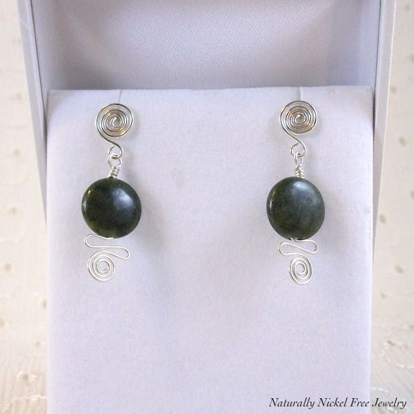 Canadian Jade Post Earrings Argentium Sterling Silver With Spiral Wave Product Images Of