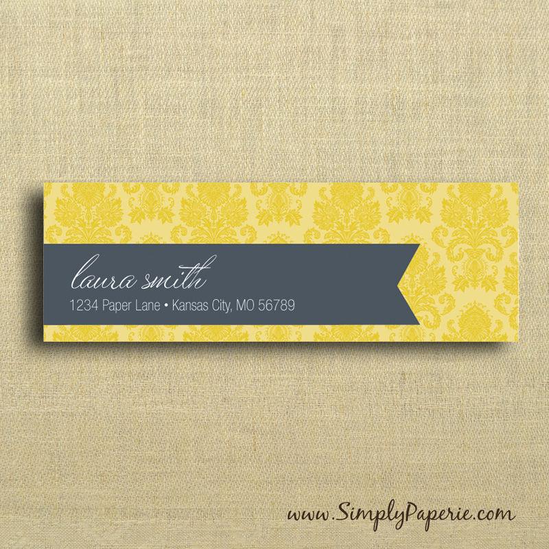 Gold damask return address labels product images of