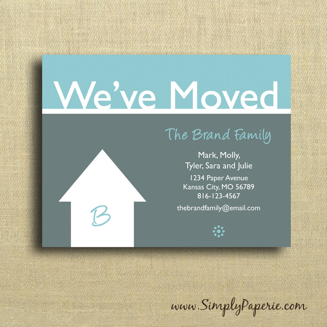 We 39 ve moved cards simply paperie for We have moved cards templates