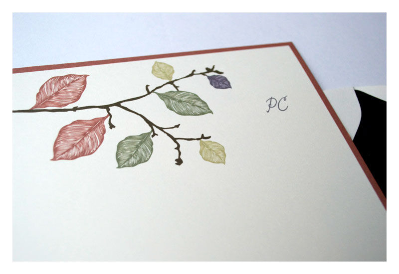 fall leaves design personalized stationery half sheet note card