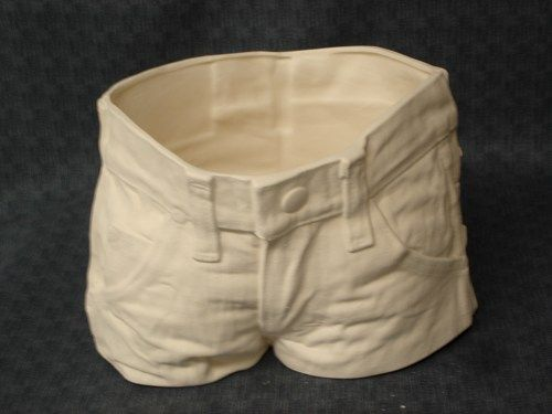 Denim Jeans Planter Ceramic Bisque Ready To Paint