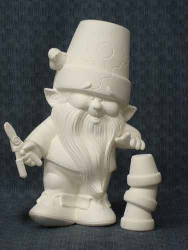 Dona Molds Ceramic Bisque Ready to Paint Gnome with Garden Accessories