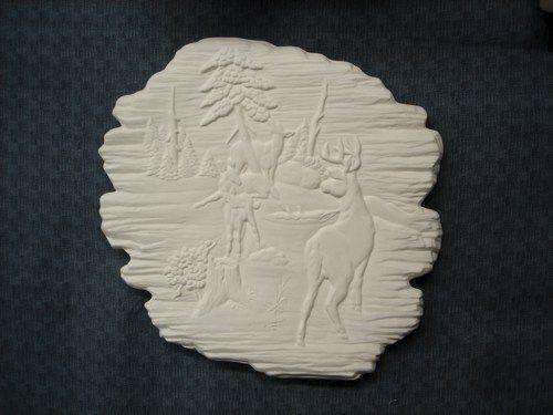 Deer Wildlife On Woodlook Ceramic Plaque Ready To Paint
