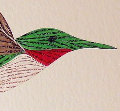 Quilled Hummingbird And Flower Wall Art Handmade
