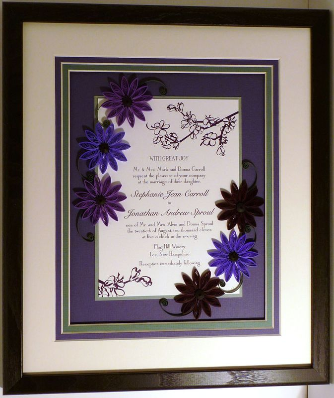 Quilled Wedding Invitation Keepsake Custom Wood Frame
