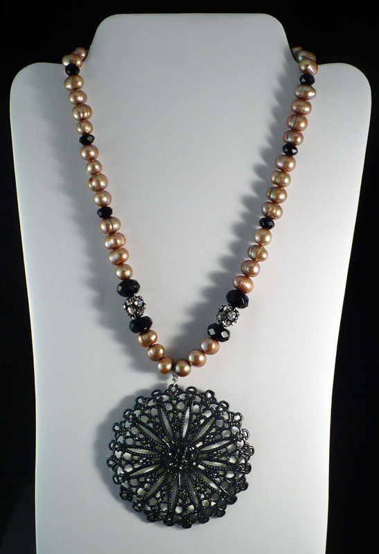 Gold Freshwater Pearl Necklace Large Black Filigree