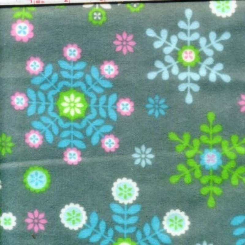 Cotton Quilt Fabric Flannel Winter Warmth Gray Snowflake