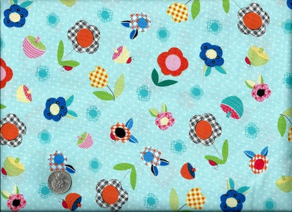 Cotton Quilt Fabric Patchwork Pals Floral Baby Aqua Blue