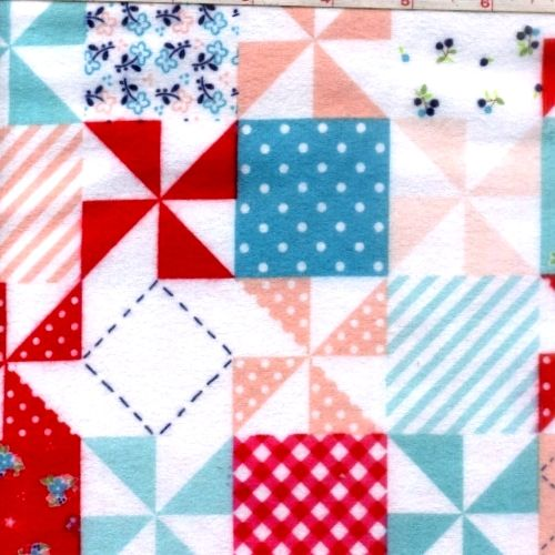 Cotton Quilt Fabric Flannel Country Girls Patchwork Red