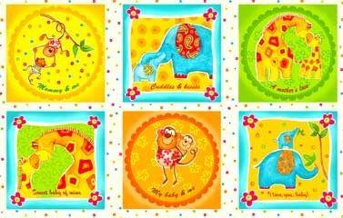 1 Panel Safari Sweethearts Baby Wall Quilt Nap Mat Monkey