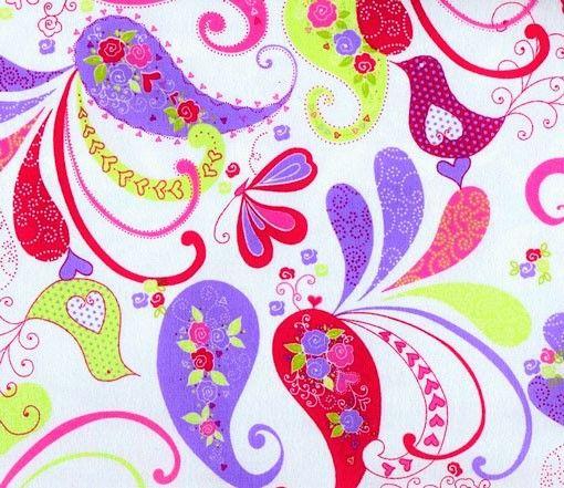 Cotton Quilt Fabric Flannel Delicate Paisley Floral Birds