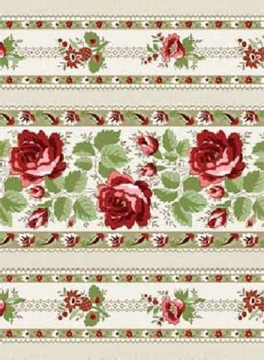 Cotton Quilt Fabric With All My Heart Floral Stripes Beige