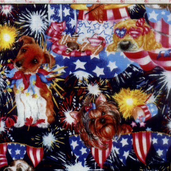 Cotton Quilt Fabric Puppy Sparkle Patriotic Dogs And