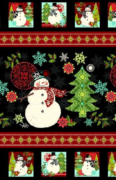 Easy Christmas Fabric Panel Quilt Kit Holly Jolly Snowman