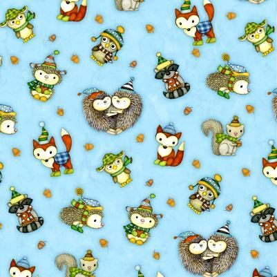 Cotton Quilt Fabric Hedgehugs Hedgehog Fox Raccoon Owl