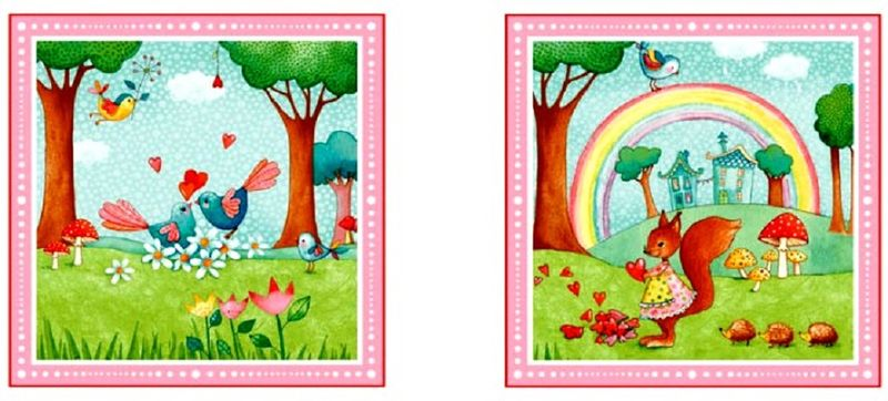 Cotton Quilt Fabric Rainbow Woodland 24 Quot Baby Quilt Panel
