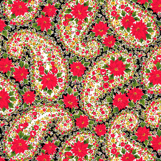 Cotton Quilt Fabric Christmas Poinsettia Large Paisley