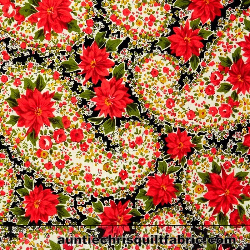 Cotton Quilt Fabric Christmas Poinsettia Large Paisley