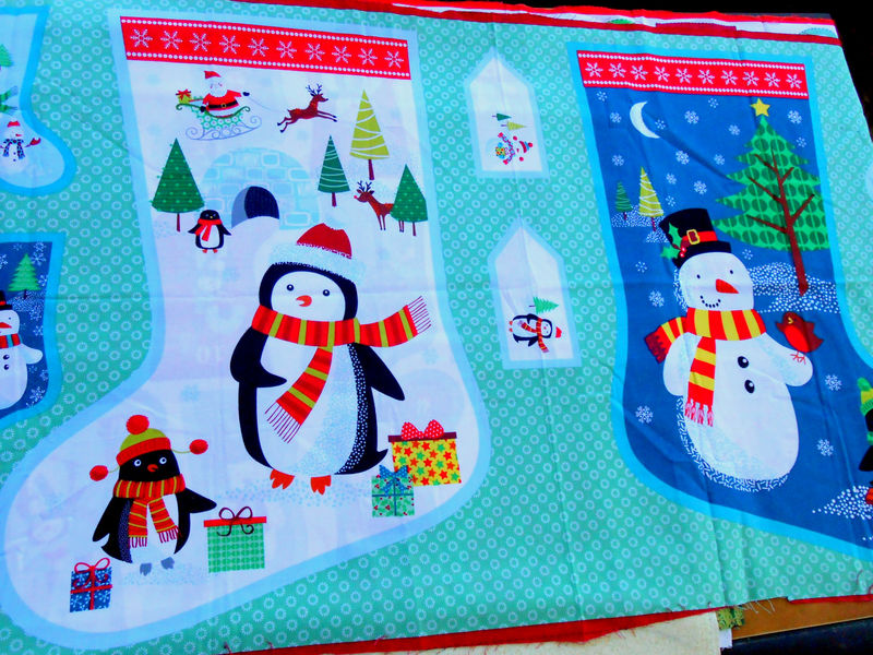 Cotton Quilt Fabric Christmas Frosty Christmas Stocking