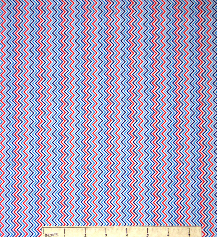 Cotton Quilt Fabric Mini Red White Blue Chevron Patriotic