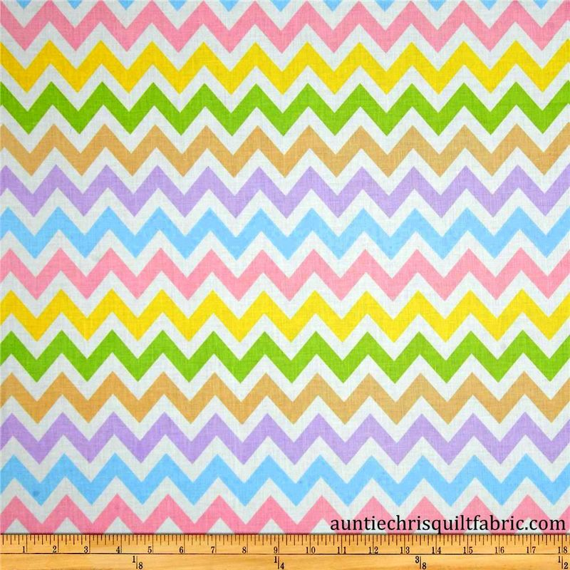 Cotton Quilt Fabric Remix Chevron Stripe Spring White ...