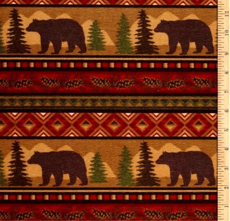 Cotton Flannel Quilt Fabric Big Country Bear Stripe Brown