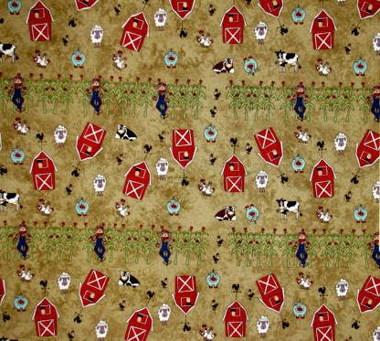 Cotton Quilt Fabric Farm Doodles Farm Pig Sheep Cows