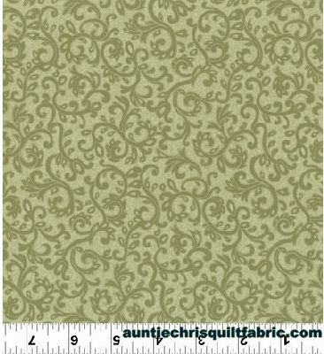 Cotton Quilt Fabric Impressions Scroll Dusty Olive Green Tonal Fl Product Images Of