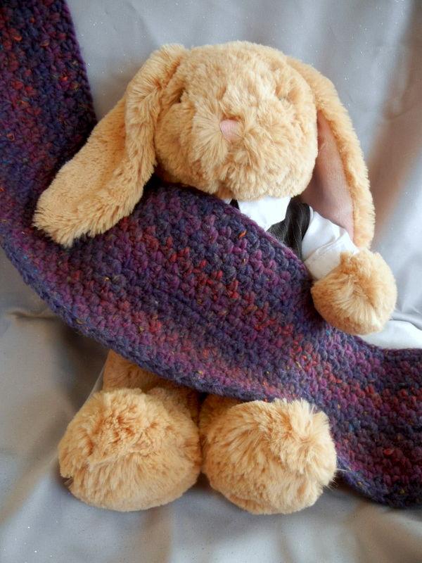 Purple Chunky Crochet Scarf Crowe Shea Fashions