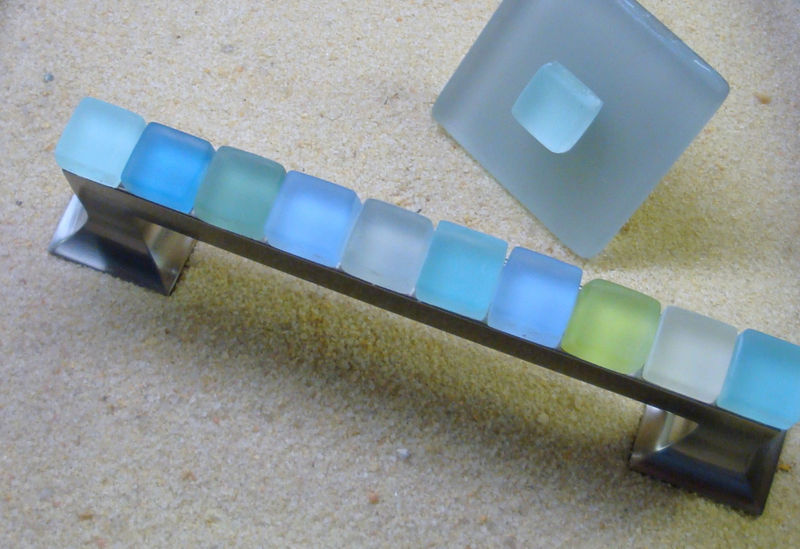 Beach Glass Drawer Pull 128mm Sea Cabinet Handle 36