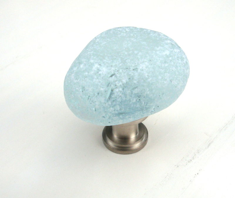 Sea Glass Stone Cabinet Knob Drawer Pull Turquoise