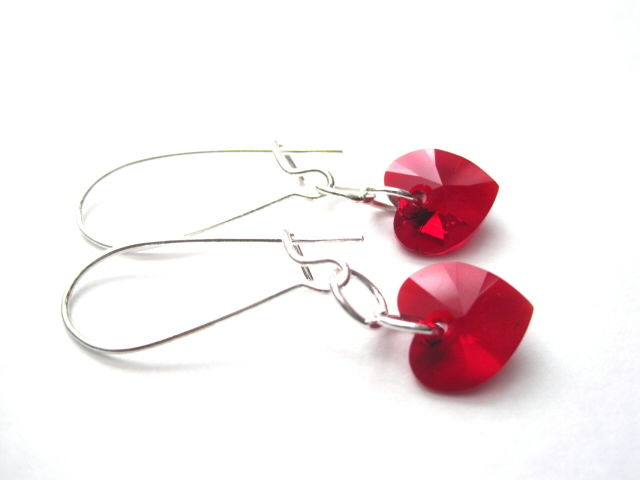 Red Swarovski Crystal Heart Dangle Earrings Vamps Jewelry Gothic Victorian
