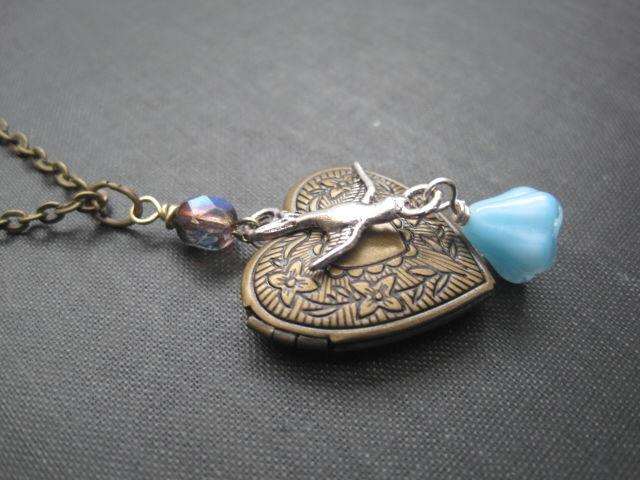 Brass bird necklace