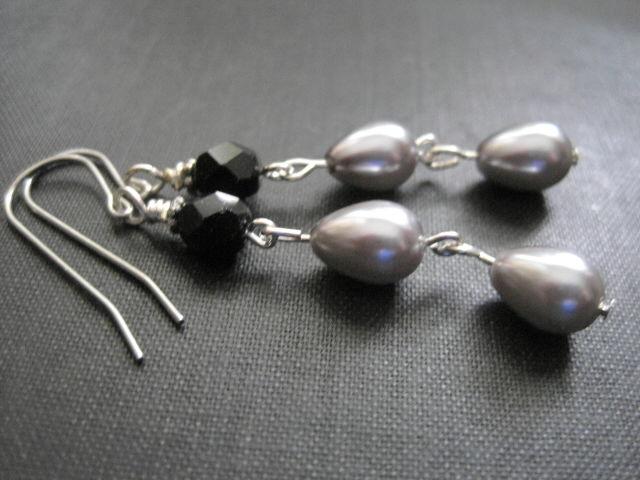 Silver Teardrop Pearl Black Jet Dangle Earrings Vamps Jewelry Gothic Victorian