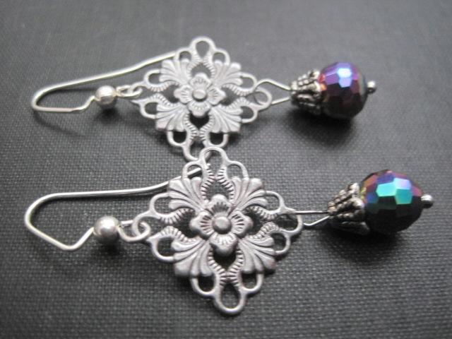 Filigree Aurora Borealis Sparkle Dangle Earrings Vamps Jewelry Gothic Victorian