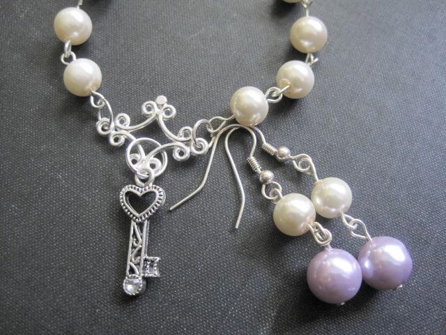 Pearls Heart Key Rosary Style Charm Bracelet Earring Set