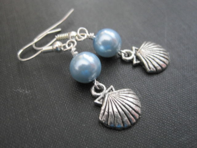 Blue Pearl Clam S Dangle Earrings Nautical Vamps Jewelry Gothic Victorian