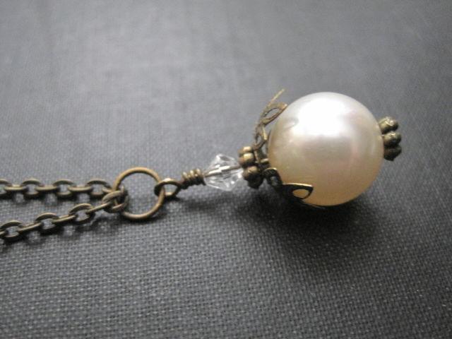 Victorian Antique Gold Swarovski Pearl