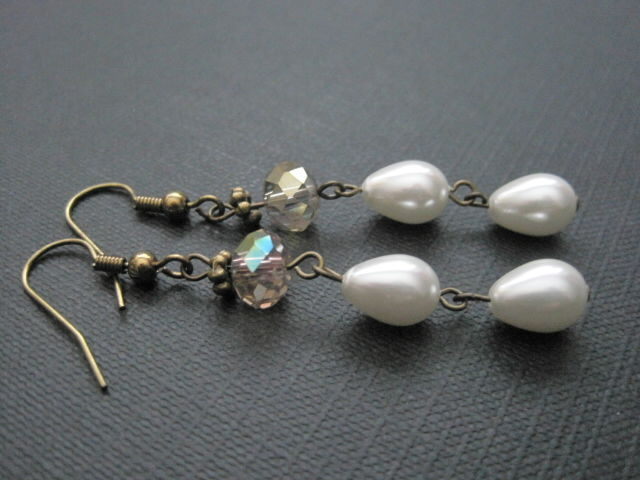 Antique Gold Pearls Crystal Dangle Earrings Vamps Jewelry Gothic