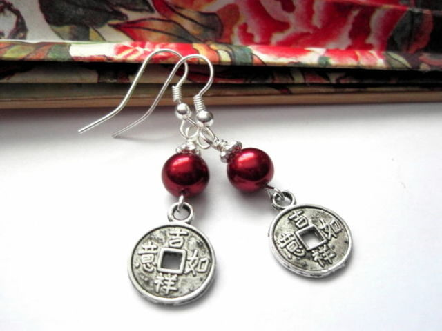 Chinese Good Luck Coin Red Pearl Earrings Vamps Jewelry Gothic Victorian