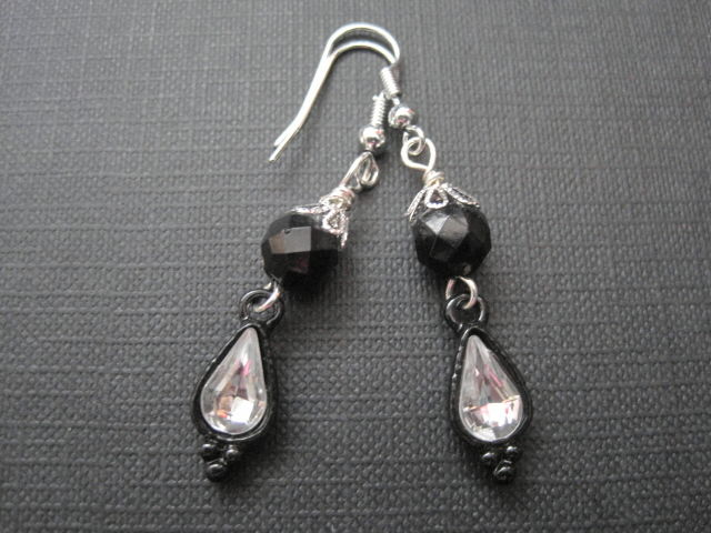 Gothic Victorian Black Crystal Dangle Earrings Vamps Jewelry