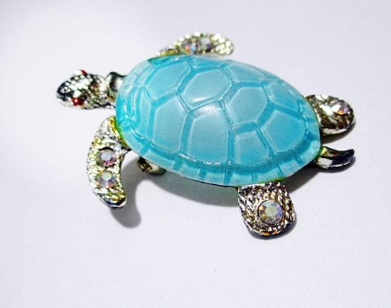 Cute Novelty Blue Vintage 1960s Turtle Brooch Pin with Jeweled Feet