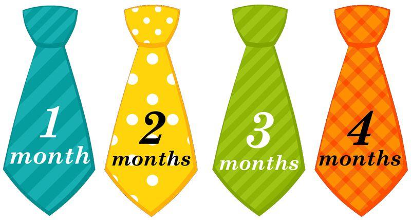 Baby Boy Necktie Monthly Birthday Onesie Stickers